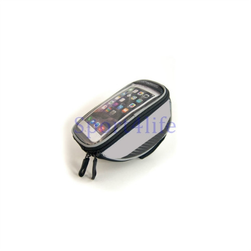 "Bike Bag Touchscreen Bicycle Bag Cycling Front Top Frame Handlebar Bag For 5.5"" Cellphone Silver"