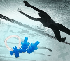 Soft Swim Waterproof Silicone Earplug Nose Clip Set Swimming Pool Accessories Blue for Swimming