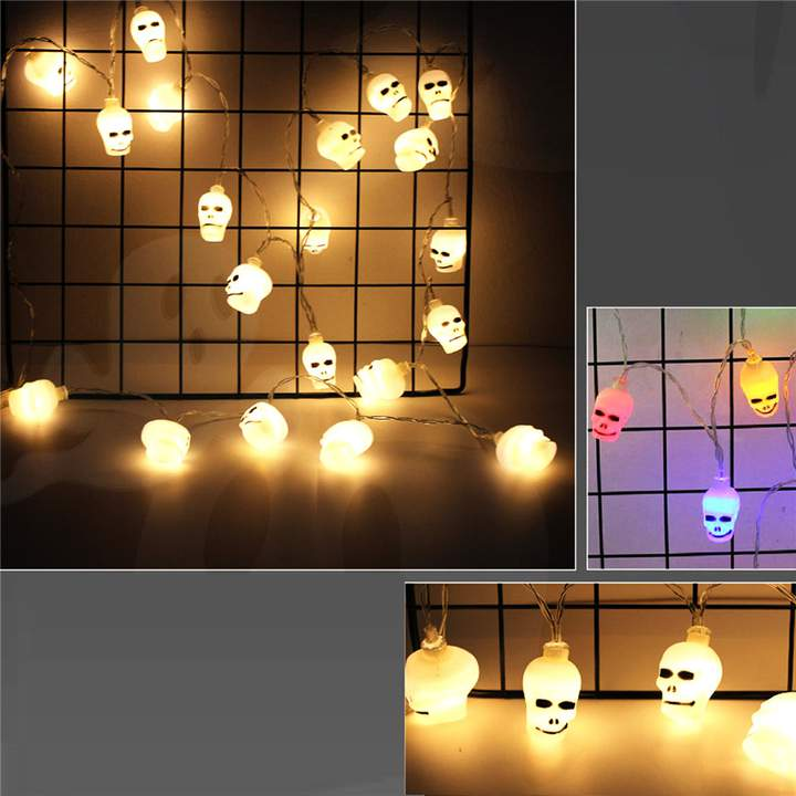 LED Skull Ghost Shaped LED String Lights Decoration Halloween Indoor Outdoor Lights Skeleton-20LED