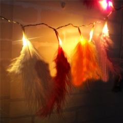 10 Led Fairy Feather Battery Operated String Lights 1.2M Decoration For Christmas Garland New Year Warm White for Holiday