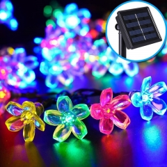 Solar String Lights 7M 50 Led Peach Blossom Fairy Light Christmas Lights for Outdoor Multi-color for Holiday
