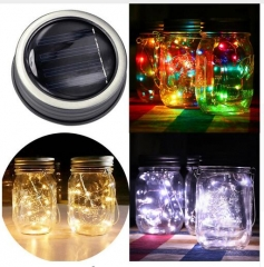 LED Fairy Light Solar Mason Jar Lid Lights Christmas String Light  Outdoor Garden Decor Multi-color for Holiday