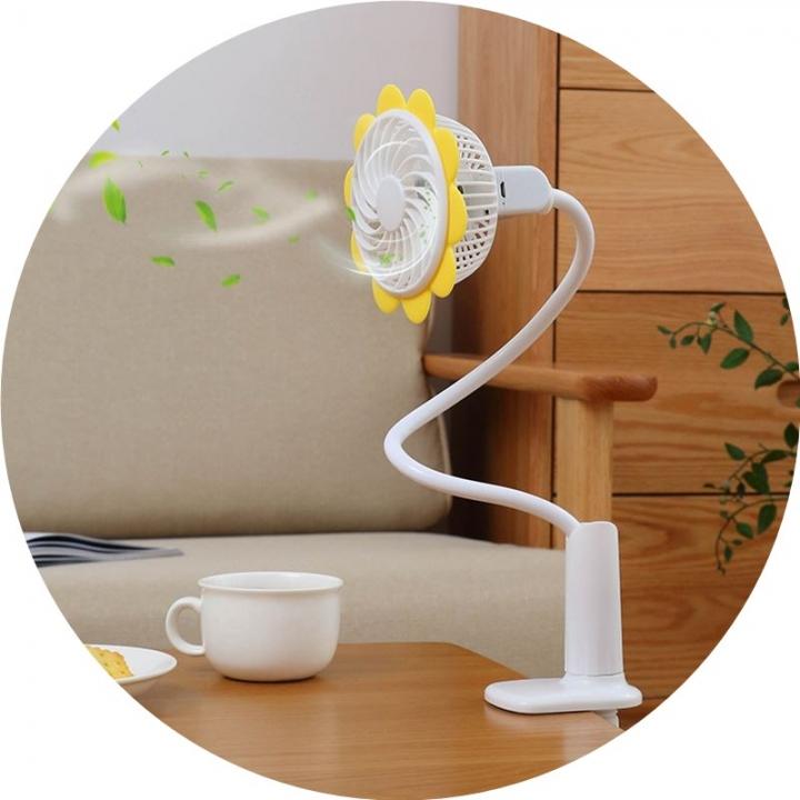 Rechargeable Dormitory Bed Desk Sunflower Clip Fan Stroller Arbitrarily Bending USB Mini Fan Yellow