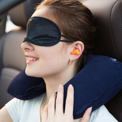 U Neck Pillow Travel Pillow Flight Car Pillow Inflatable Rest Inflatable Pillow Flocking Blue