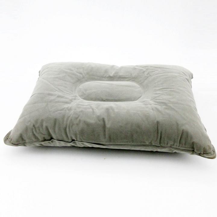 Outdoor Camping Pillow Air Inflatable Pillows Ultralight Folding Pillow Flocking Cushion Gray