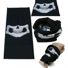 Sun Protective Veil Multi Skull Hood Scarf  Magic Skull Pattern Kerchief Black 48.8*24.3cm