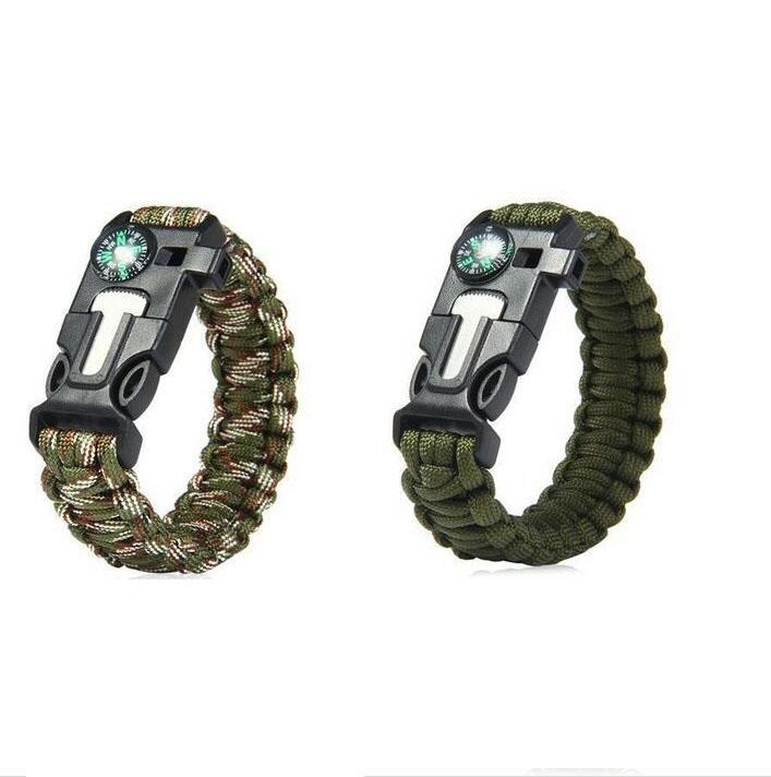 Compass Flint Fire Starter Whistle Scraper Gear Kits Paracord Survival Bracelet Camouflage