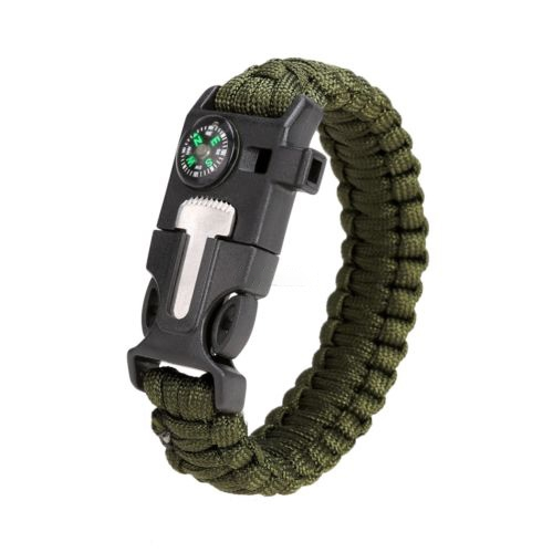 Compass Flint Fire Starter Whistle Scraper Gear Kits Paracord Survival Bracelet Army Green