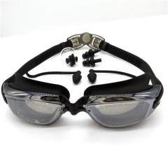 Silicone Waterproof Swimming Goggles Anti-fog UV Swimming Glasses With Earplug Black 5.5*2.5cm