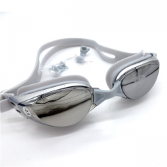 Swimming Goggles Plating Matt Waterproof Anti-Fog Myopia Swimming Goggles Silver 5.8*3.2cm