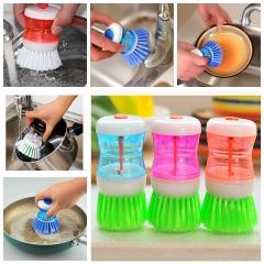 Dish Brush with Washing Up Liquid Soap Dispenser Kitchen Utensil Pot Clean Brush Color Random-1Pc
