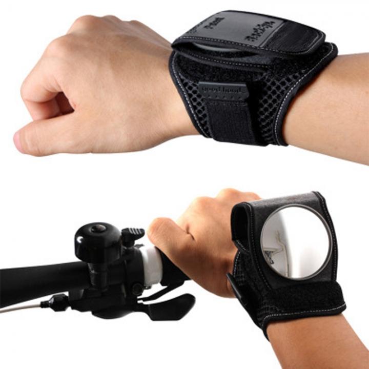 Cycling Bicycle Bike Wrist Rearview Mirror Guards Wristbands Back Eye Black
