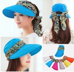 Summer Hats for Women Chapeu Feminino New Fashion Visors Cap Sun Collapsible Anti-uv Hat Blue