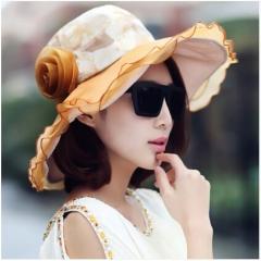 Womens Hat Large Brim Chiffon Flower Flounce Portable Sun Hats for ladies Summer Bonnet Coffee