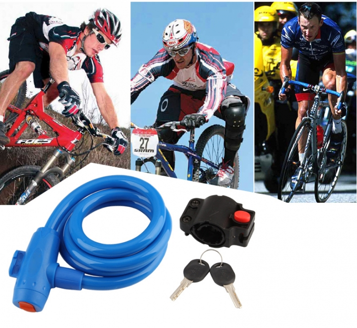 Bicycle Mountain Bike Lock Anti-theft Ring Wire Rope Lock Security Lock Steel Spiral  Bicycle Lock Blue