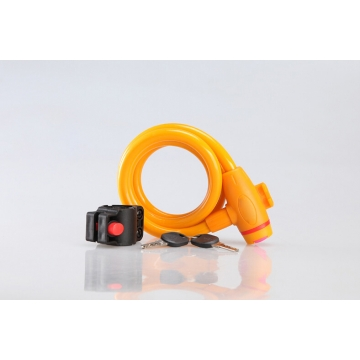Bicycle Mountain Bike Lock Anti-theft Ring Wire Rope Lock Security Lock Steel Spiral  Bicycle Lock Orange