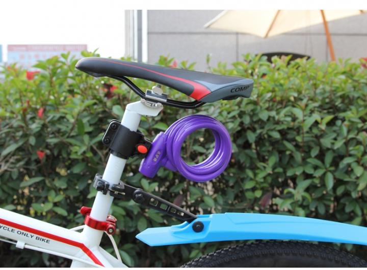 Bicycle Mountain Bike Lock Anti-theft Ring Wire Rope Lock Security Lock Steel Spiral  Bicycle Lock Puple