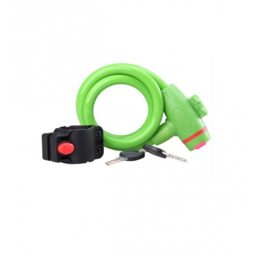 Bicycle Mountain Bike Lock Anti-theft Ring Wire Rope Lock Security Lock Steel Spiral  Bicycle Lock Green