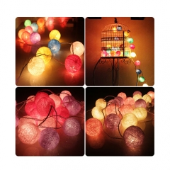 Cotton BALL String Light For Xmas Feast Table Ornament Light Lamp Led Strip Home Bedroom Decor 1.8M-10LED for Holiday