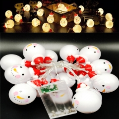 Snowman Doll Shape LED String Light Battery Operated Fairy Lights Christmas Lights Outdoor Supplies 1.2M-10LED for Holiday