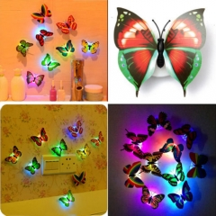 Colorful Changing Butterfly LED Night Light Lamp Home Room Party Desk Wall Decor Lamps Color Random-1Pcs for Home Room