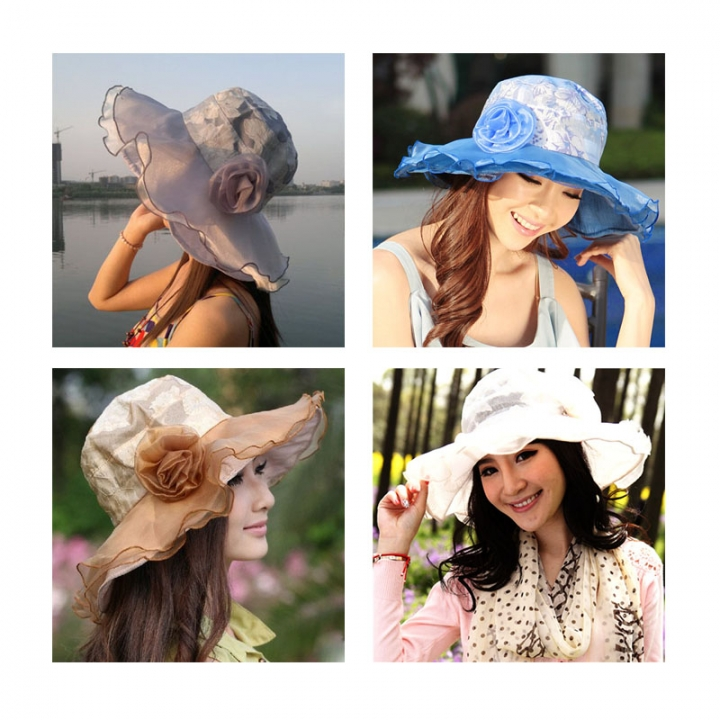 Womens Hat Large Brim Chiffon Flower Flounce Portable Sun Hats for ladies Summer Bonnet Blue