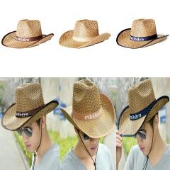 Men HAT Visor SUN Shade Beach Hat Large Brim Outdoor Fishing Straw Hat Male Dark Blue