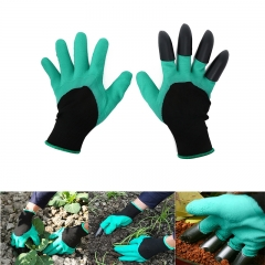 Garden Gloves with Plastic Fingertips Claws for Gardening Raking Digging Planting Latex Work Glove Green&Black
