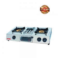 Ramtons 2 Burner Table Top Gas Cooker with Grill (RG/504) - Silver