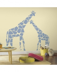 RoomMate Mommy and Me Giraffe Peel and Stick Wall Decals blue 37x50