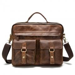 Mens Leather Handbag dark brown 39*9*30