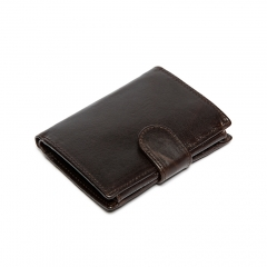Men's High Quality Luxury Soft coffce Leather Tri Fold Wallet coffe one size