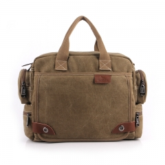 Canvas Classic  Leather Laptop Satchel Briefcase Shoulder Handbags for Men khaki one size