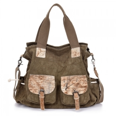 New canvas handbags with hand-rubbed leather shoulder casual women's Messenger Bag coffce one size