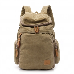 New Vintage Men Casual Canvas Leather Backpack Rucksack Bookbag Satchel coffee large