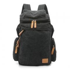 New Vintage Men Casual Canvas Leather Backpack Rucksack Bookbag Satchel black large