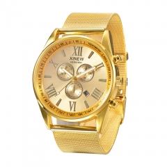 Mens Watches Full Steel Clock Gold Date Quartz Wrist Watch gold one size