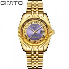 Genuine stainless steel male watch fashion business diamond diamond digital calendar watch Gold Purple one size