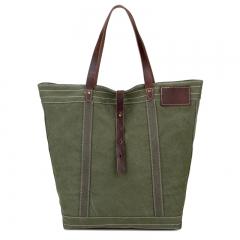 Canvas with Crazy Horse Leather Backpack retro Shoulder Bag Handbag green one size