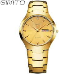 Fashion tungsten steel belt calendar watch lovers table Business waterproof wrist watch gold man one size