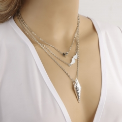 Punk style combination of elements arrow necklace peach heart angel wings necklace multilayer silver one size