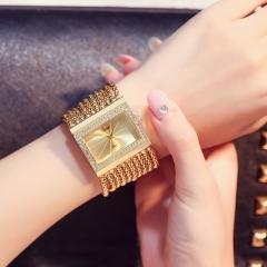 Ladies fashion square diamond watch gold