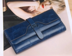 100% oil waxing cowhide wallet for women Long designer drew-string wallet leather genuine purse blue one size