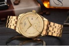 Men Watches Brand Luxury Famous Wristwatch Male Clock Golden Quartz Wrist Watch Calendar gold one size