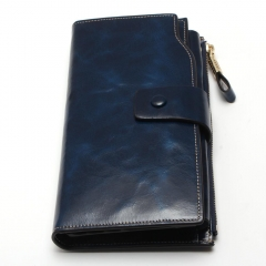 2017 New Design Fashion Multifunctional Purse Genuine Leather Wallet Women Long Style Cowhide Purse blue one size