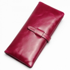 Genuine Leather Women Wallet Long thin Purse Cowhide multiple Cards Holder Clutch Wallet purple one size