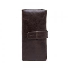 Genuine Leather Men Wallets Leather Fashion Man Long Wallet coffe one size