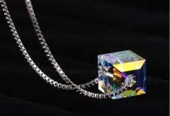 High quality fashion colorful square design 925 sterling silver ladies necklaces multi one size