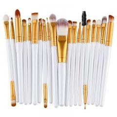 20pcs Eye Makeup Brushes Set Eyeshadow Blending Brush Powder Foundation Brush Cosmetic Tool white gold rod tube