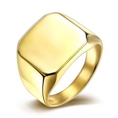 Fashion titanium steel ring gold one size